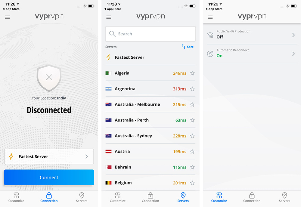 VyprVPN iOS Interface
