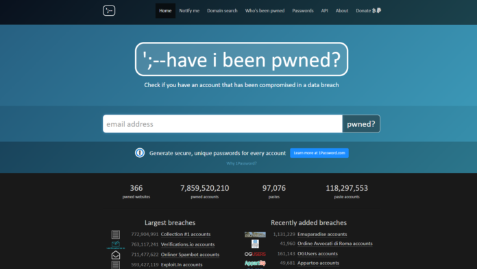 haveibeenpwned website