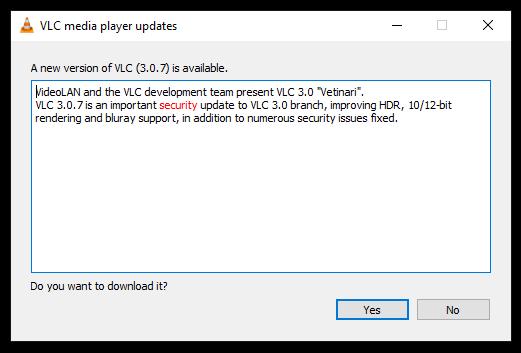 vlc update notice