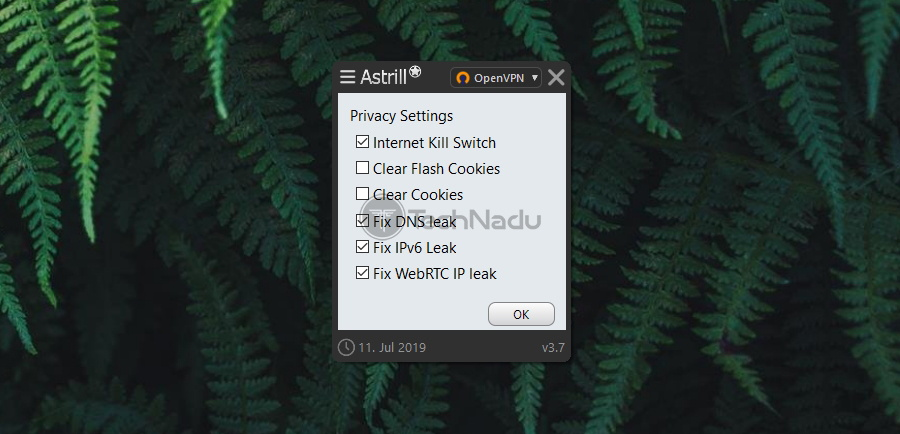 Astrill VPN Privacy Settings