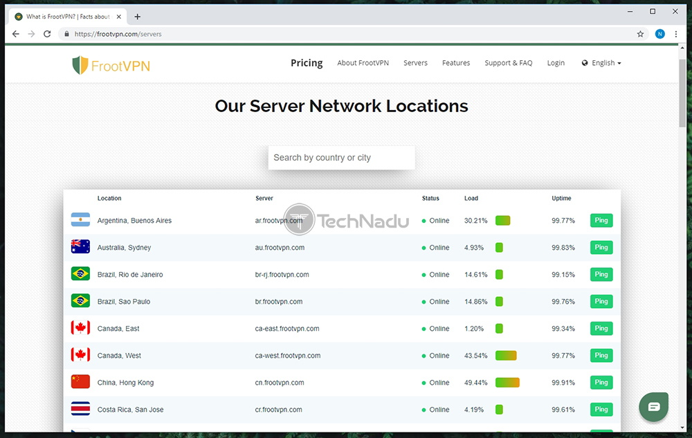 Available Servers Offered by FrootVPN