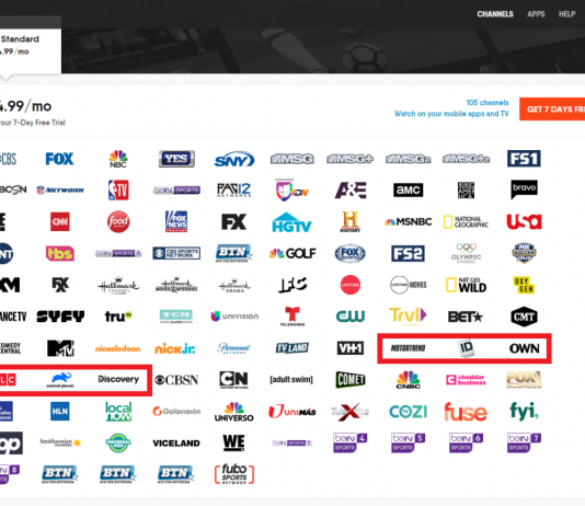 Discovery Network channels on fuboTV