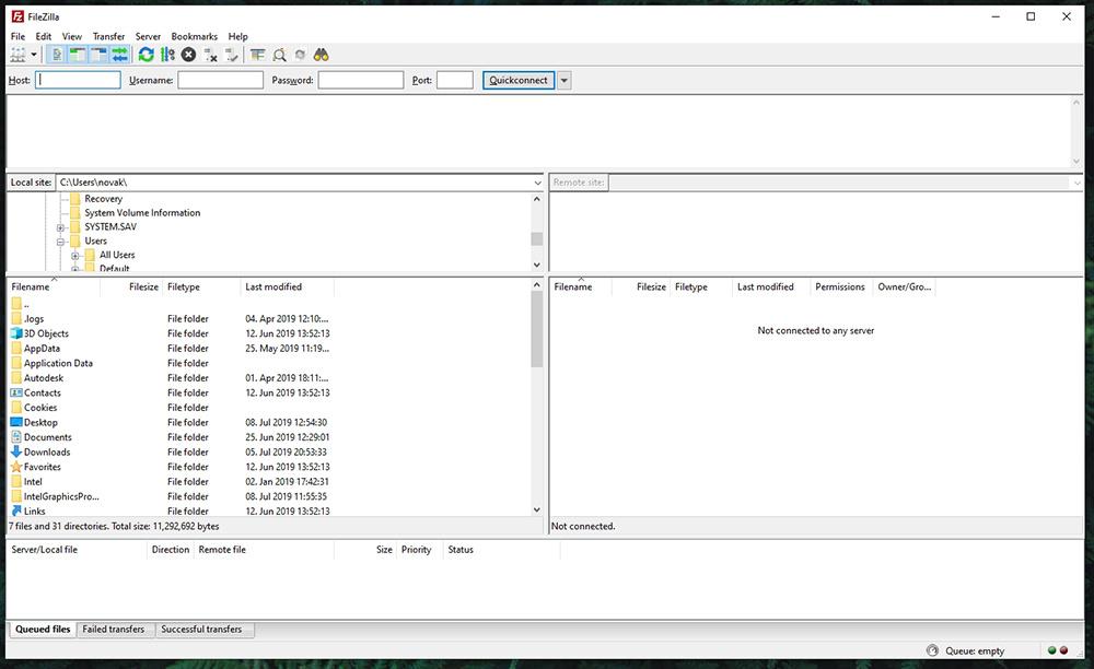 FileZilla UI