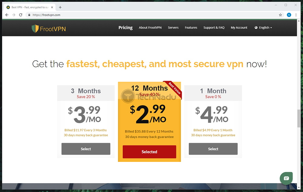 Link to FrootVPN Pricing Page