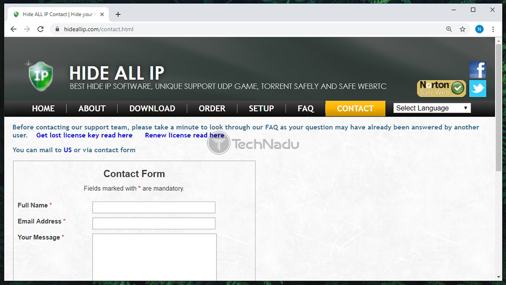 Contact Form on Hide ALL IP Website