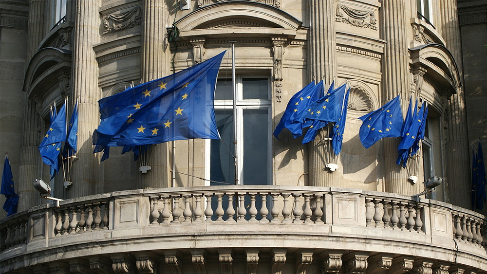 EU Flags Classical Building