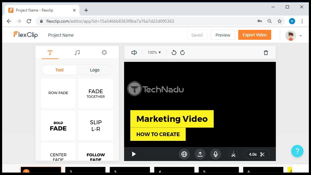 FlexClip's Editing Pane UI