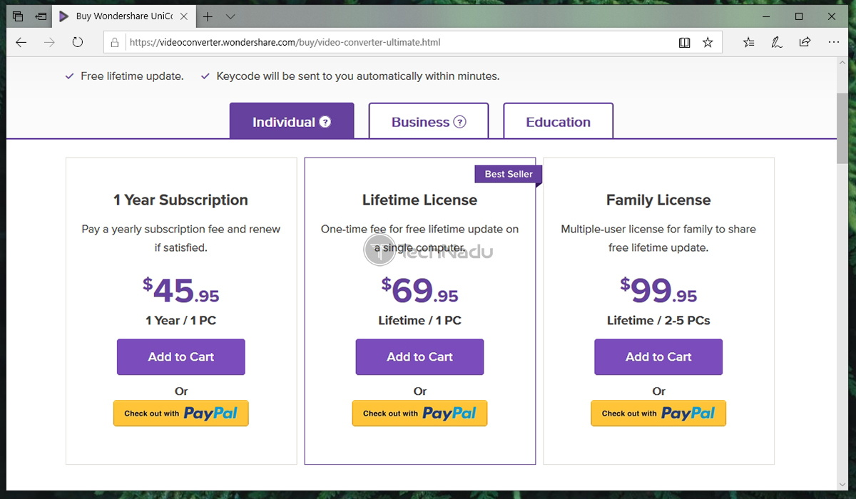 Link to Uniconverter Pricing Page