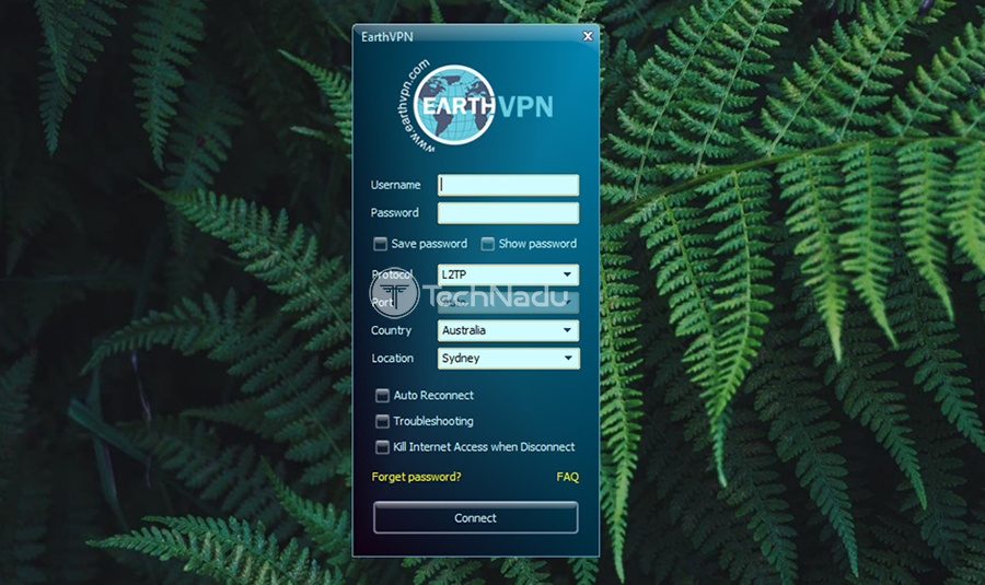 User Interface EarthVPN