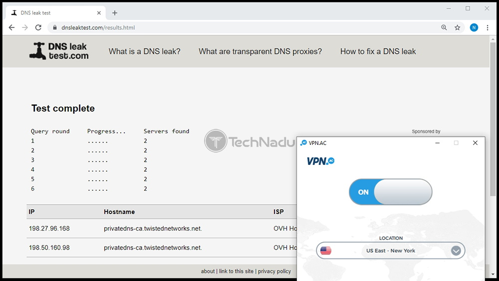 VPN.AC Passes DNS Leak Test