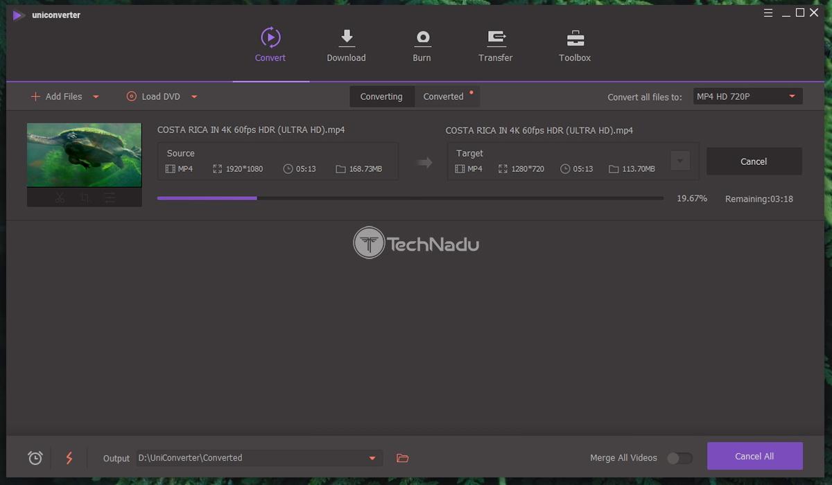 Video Conversion in Progress via Uniconverter