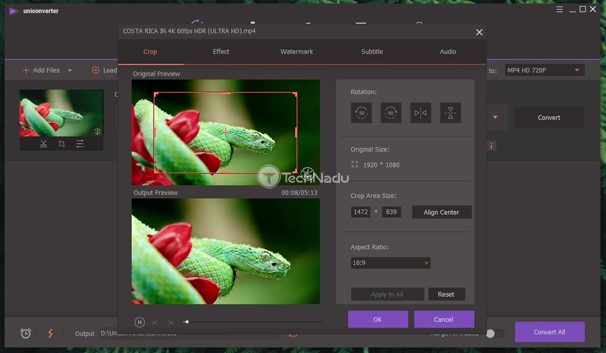 Video Cropping via Uniconverter