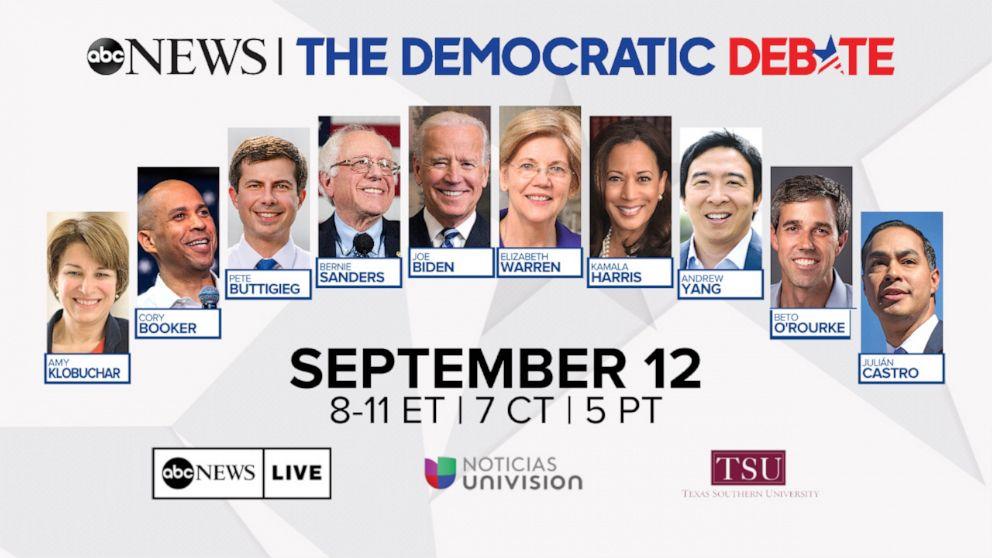 Democratic Debate line-up
