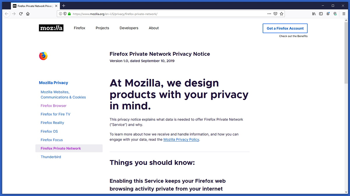 Firefox Private Network Privacy Policy