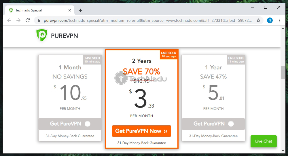 Link to PureVPN Pricing Page