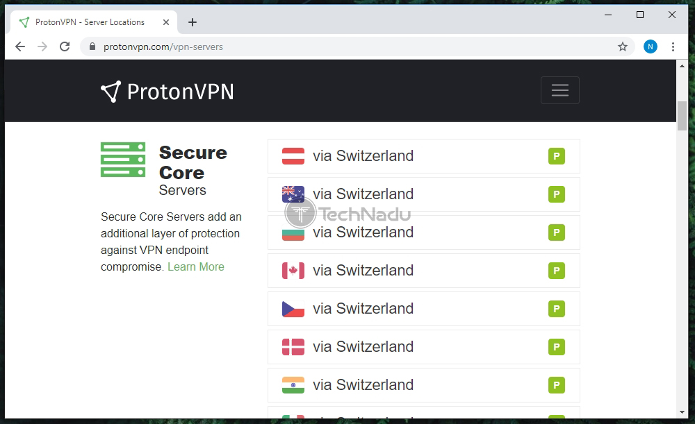 List of ProtonVPN Servers