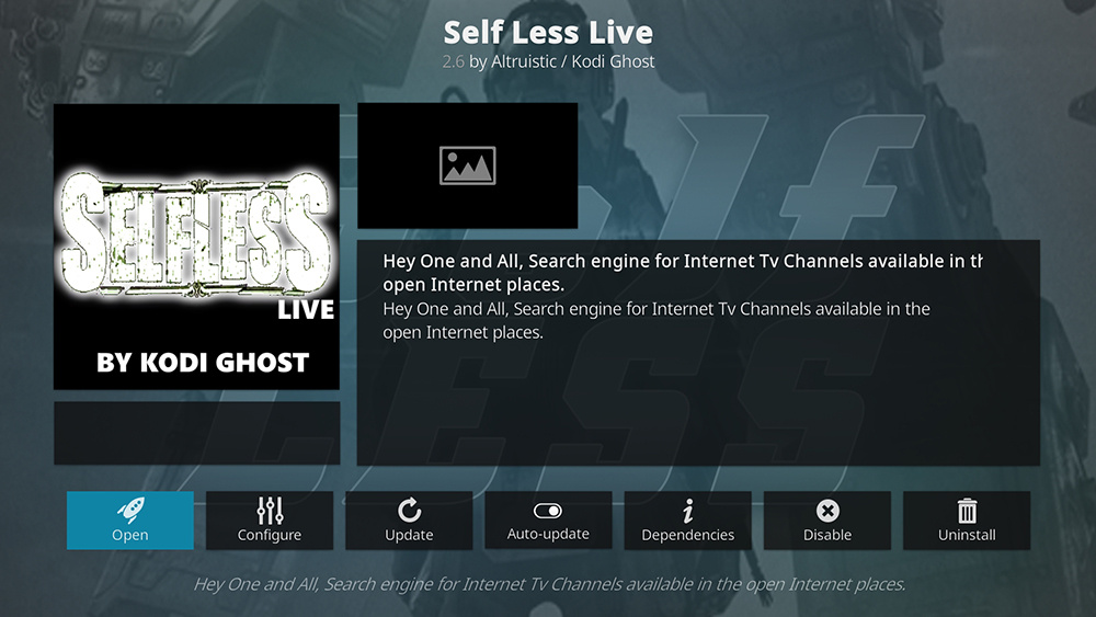 Self Less Live Kodi Addon