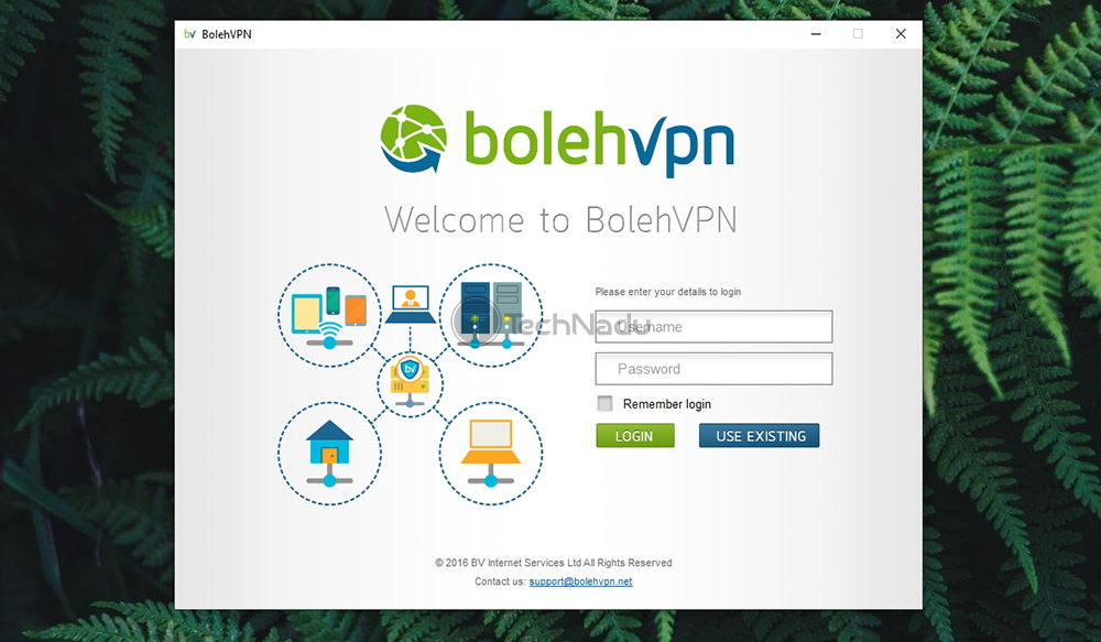 BolehVPN Log-In Screen
