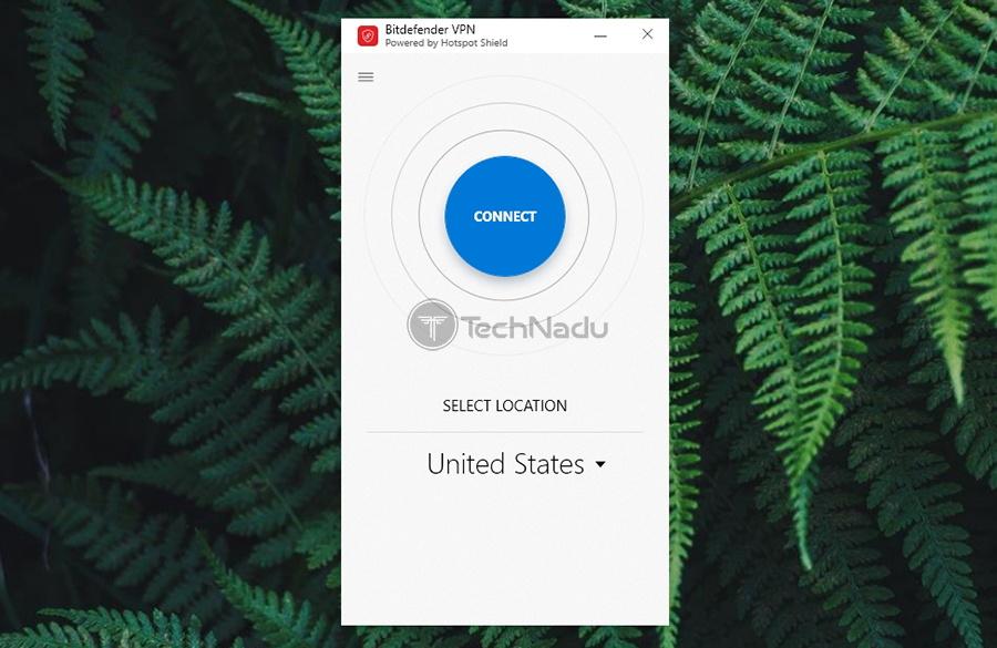 Home Screen UI Bitdefender Premium VPN