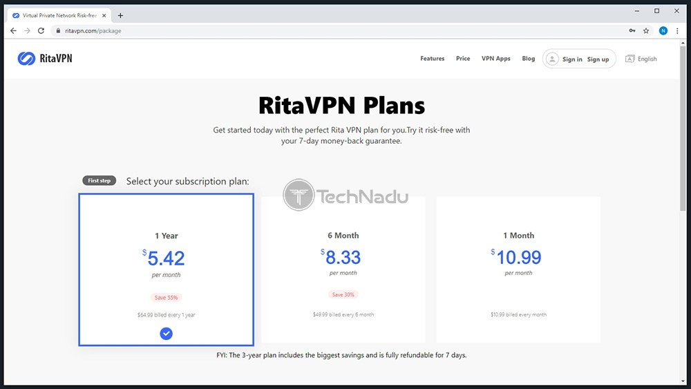 Link to RitaVPN Pricing