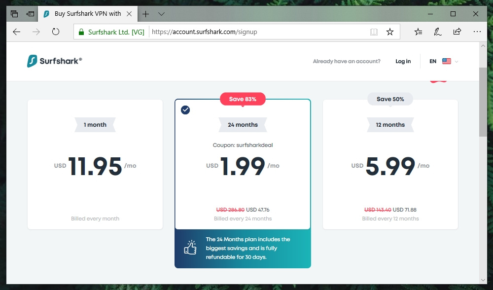 Link to Surfshark Pricing Page