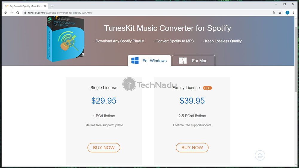Link to TunesKit Spotify Music Converter Pricing