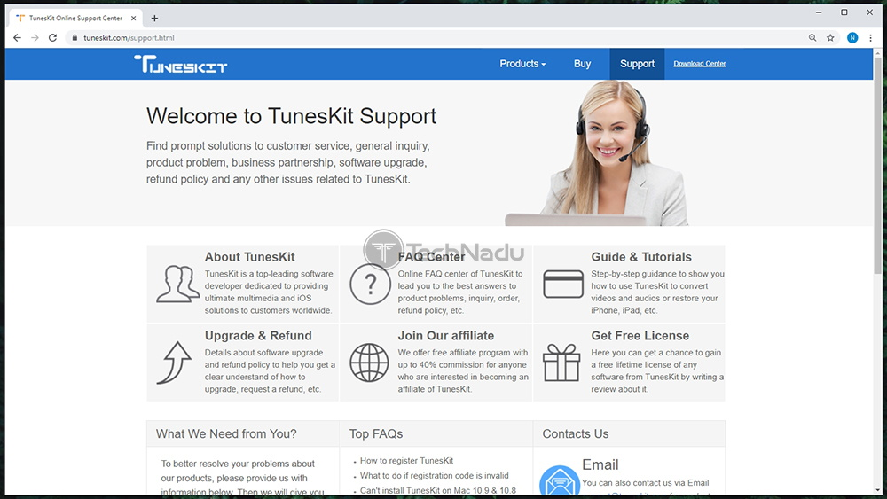 TunesKit Customer Support Page