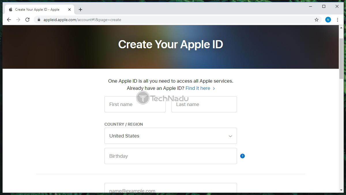 Create Apple ID Form