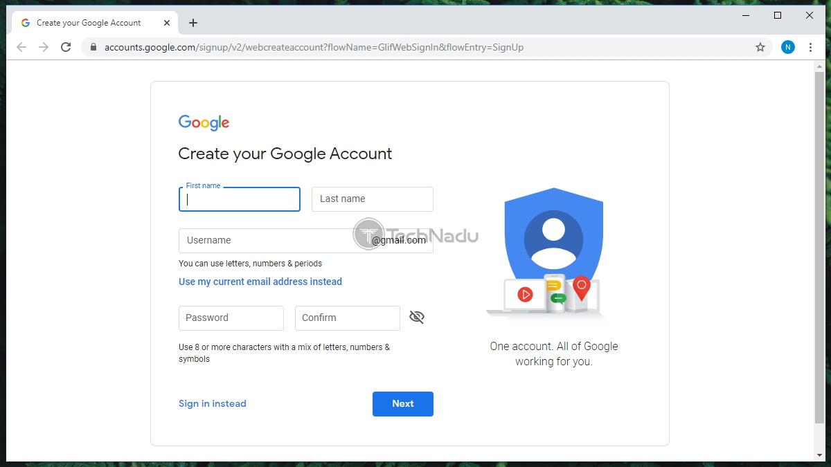 Google Account Creation Form