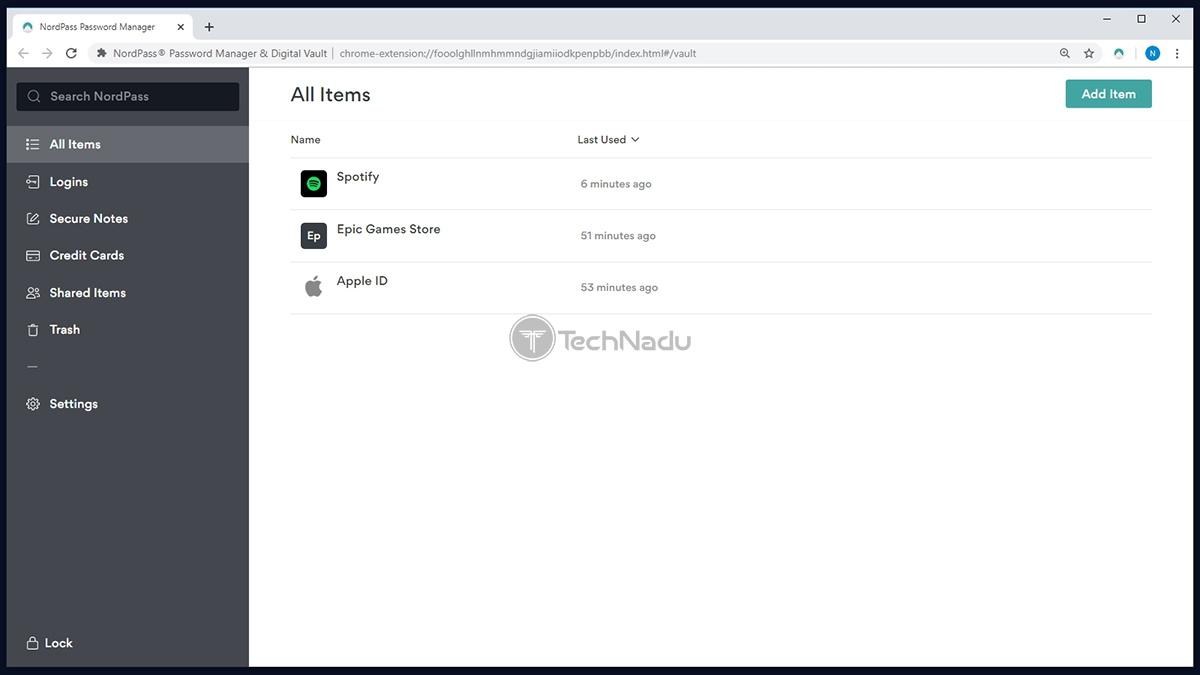 NordPass User Interface