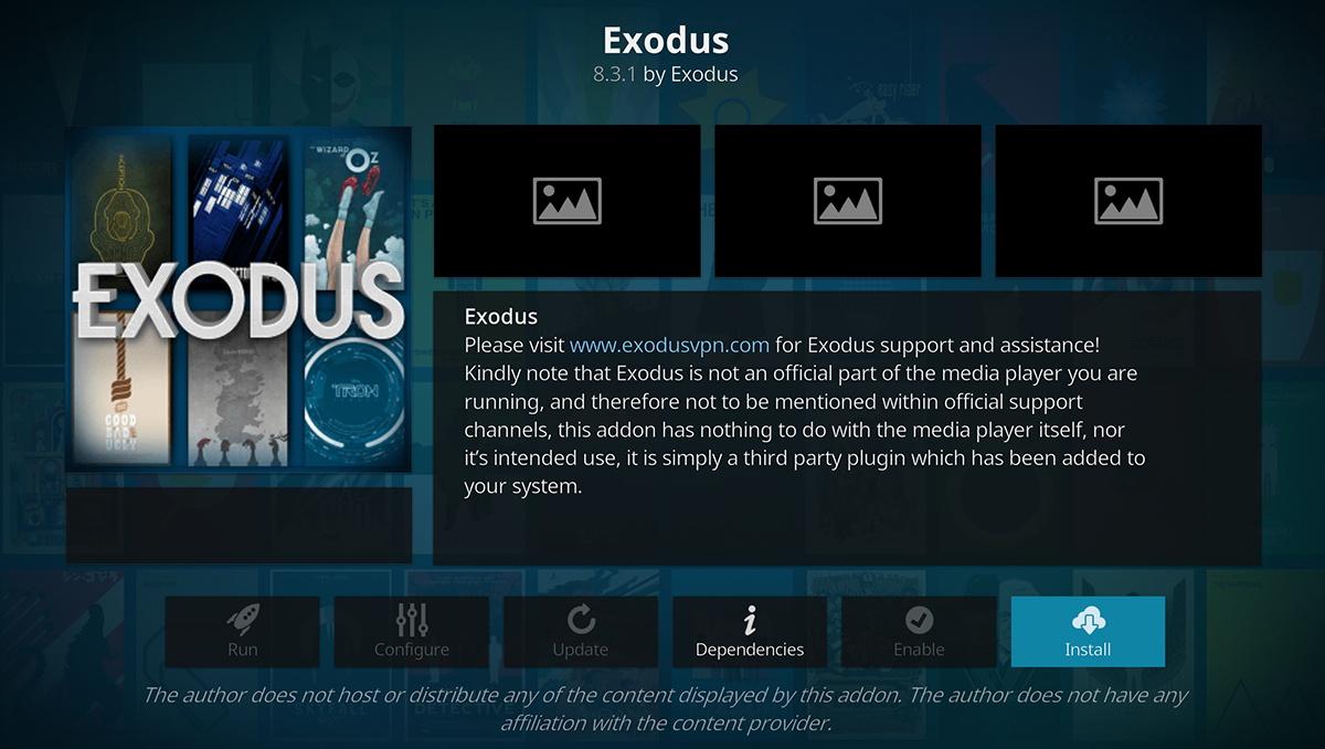 Exodus Kodi Addon Overview Page
