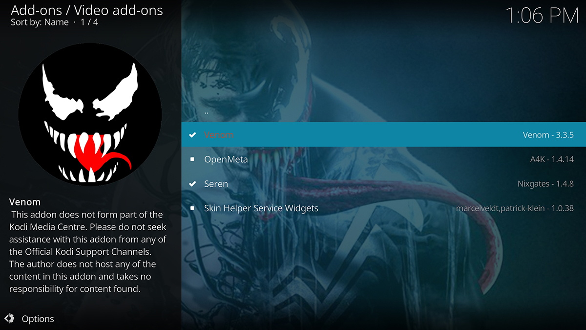 Venom Repository Addon Listing