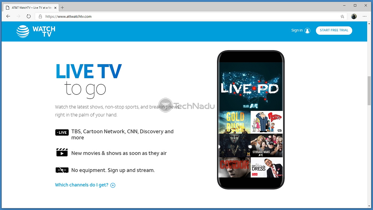 ATT WatchTV Website