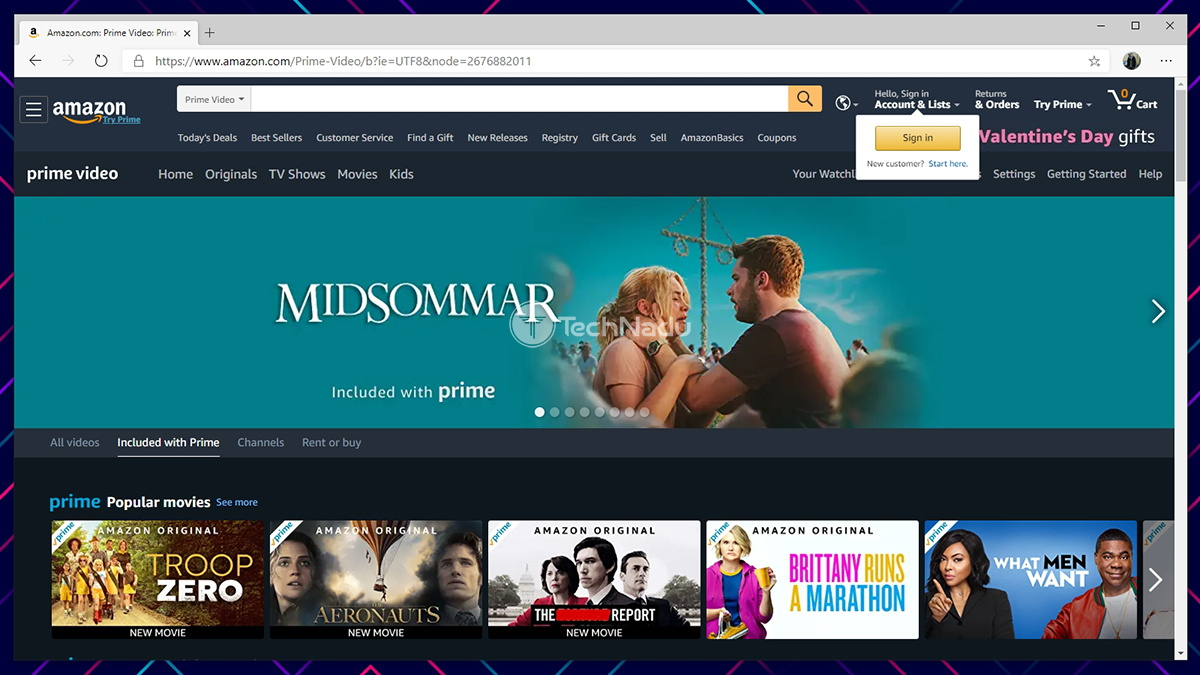 Amazon Prime Video Website