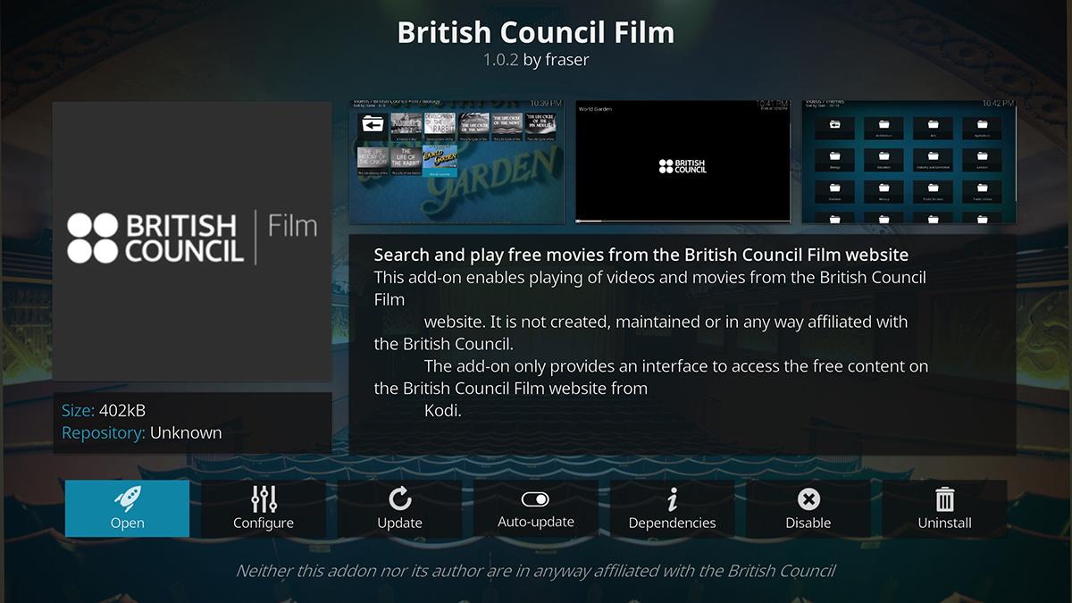 British Council Film Kodi Addon