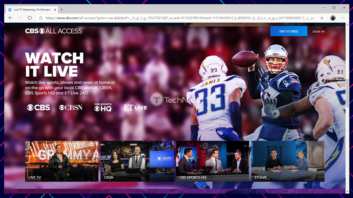 CBS All Access Website