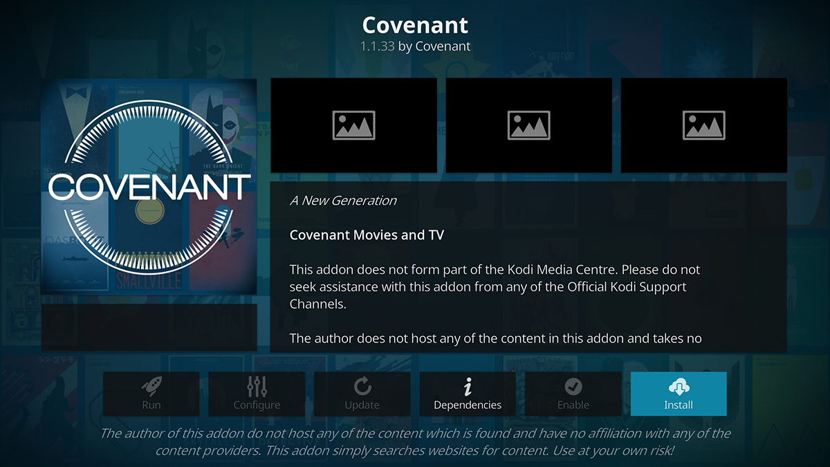 Covenant Overview in Kodi Repository