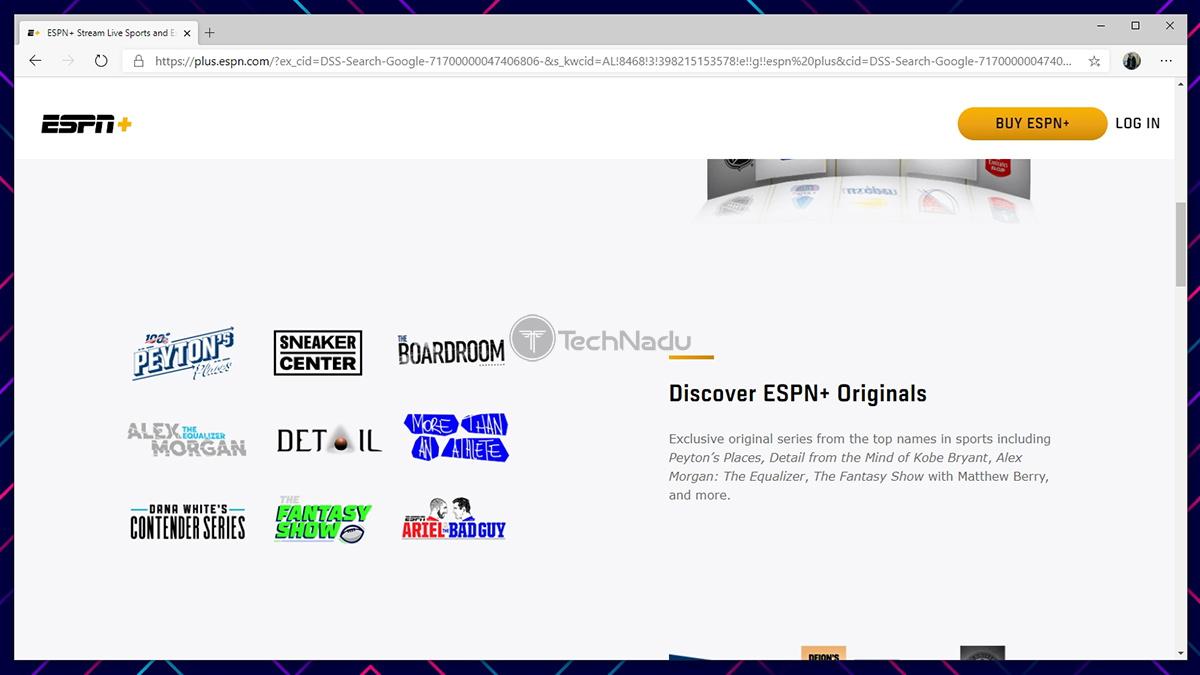ESPN Plus Website