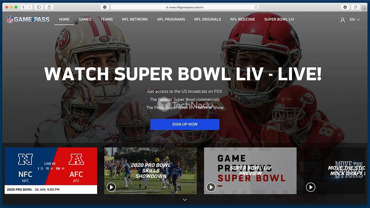 NFL Game Pass Website