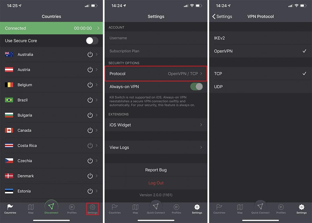 ProtonVPN OpenVPN on iOS