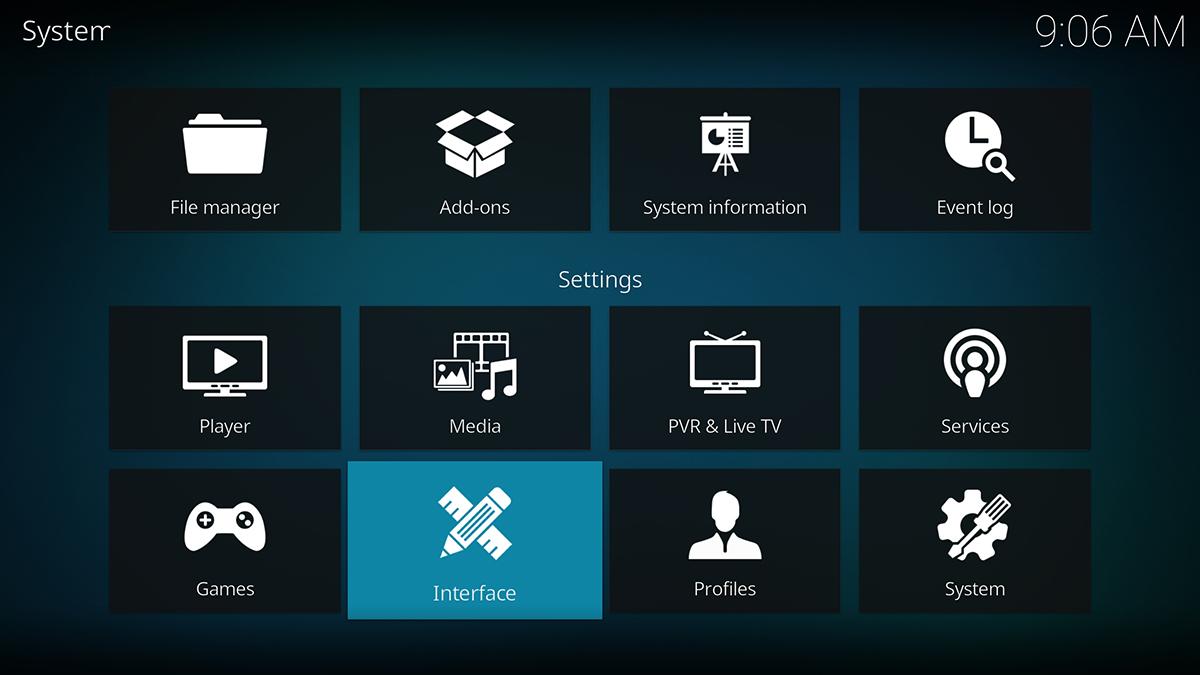 System Settings Appearance Kodi