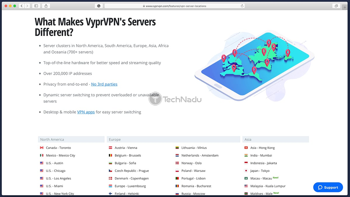 VyprVPN List of Servers