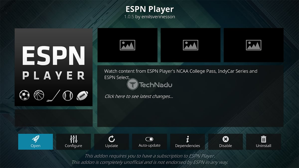 ESPN Player Kodi Addon