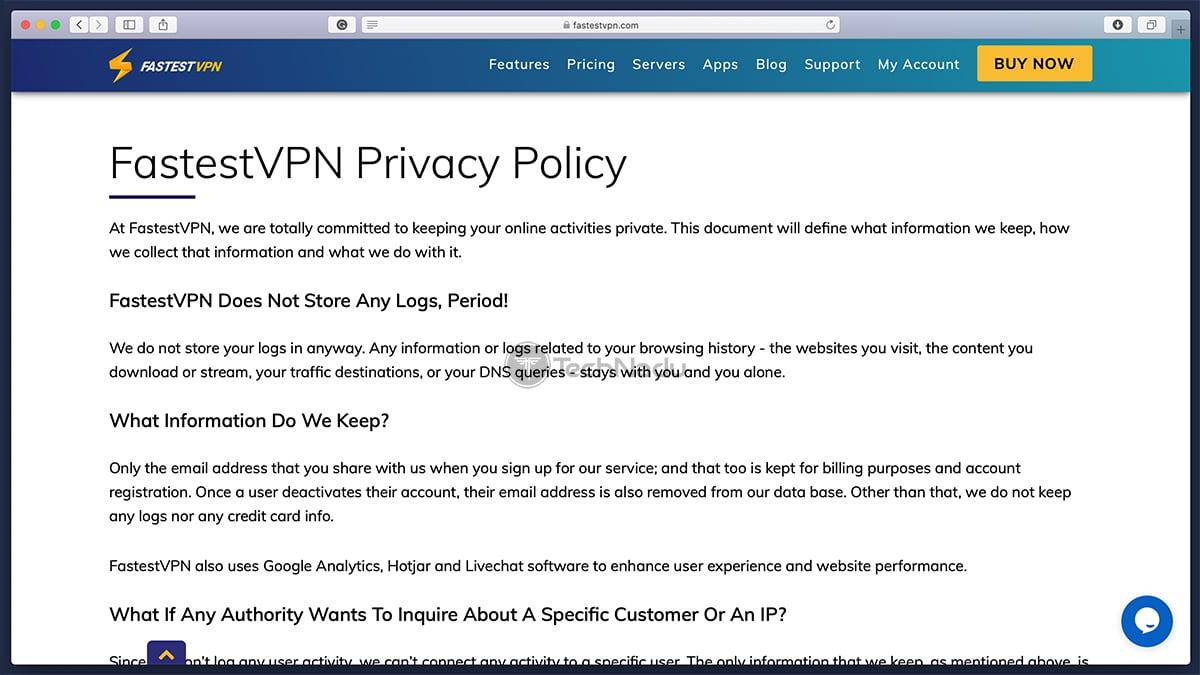 FastestVPN Privacy Policy