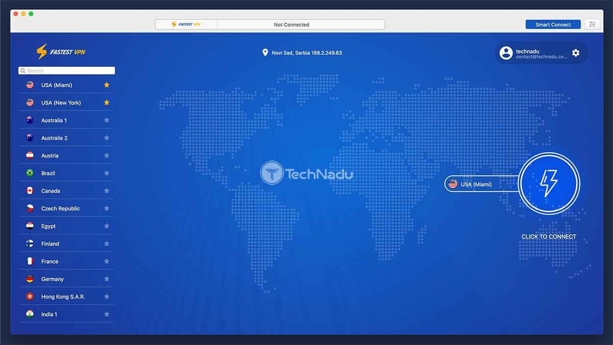 FastestVPN UI Favorite Locations