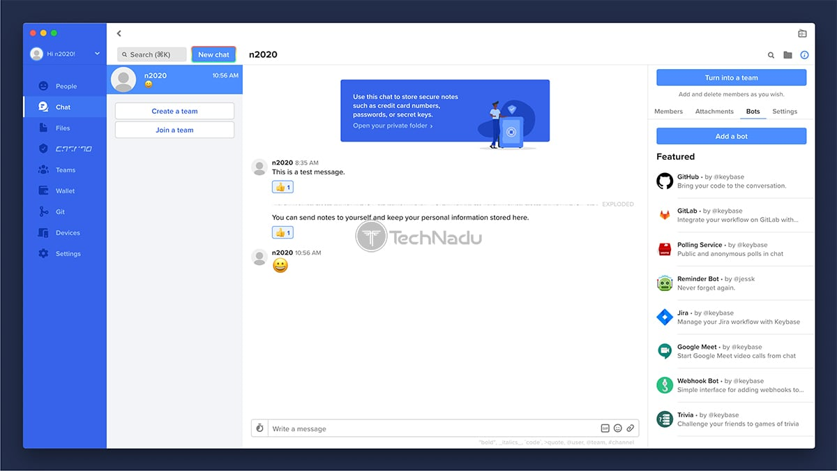 Implementation of Bots Keybase