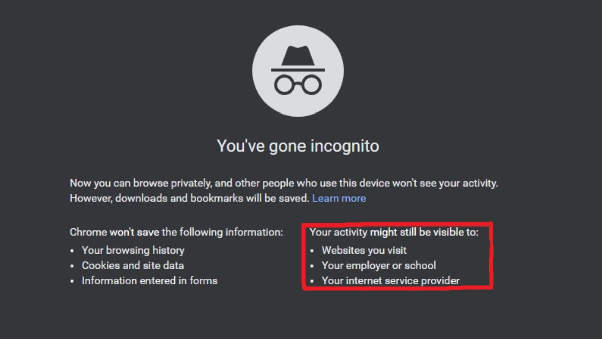 Google's incognito mode disclaimers