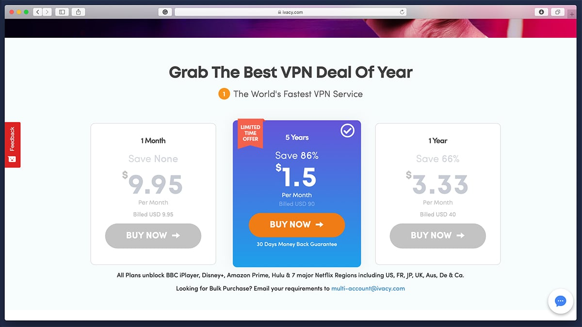Ivacy VPN Deal Pricing Page