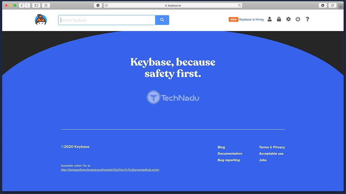 Keybase Home Screen Website