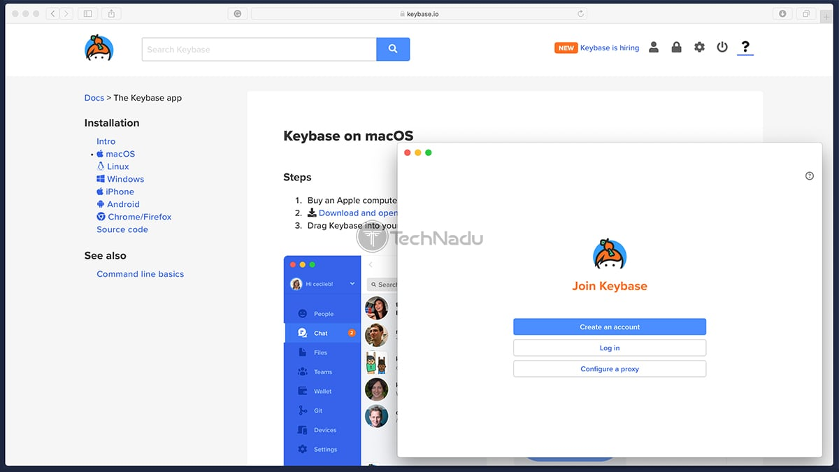 Keybase MacOS Login Screen